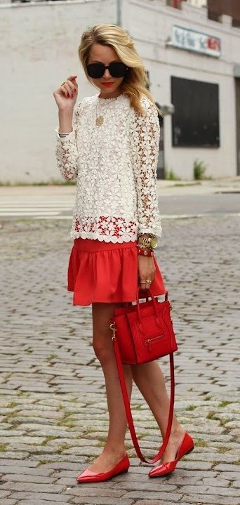 White lace flowers blouse with red skirt and hand bag and pumps