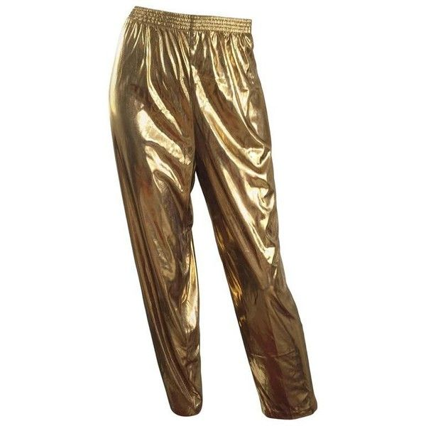 Preowned Awesome 1980s Gold Lame Vintage 80s Metallic Trousers / Pants... ($425) ❤ liked on Polyvore featuring pants, brown, 80s pants, brown pants, 1980s parachute pants, metallic pants and stretch waist pants