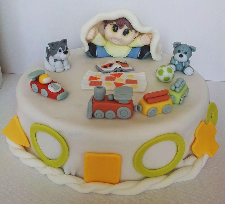 Cake Tort. Sugarcraft Masa cukrowa. Inspiration Inspiracja. Boy Chłopiec, Toys Zabawki, Teddy Bear Miś, Dog Pies, Ball Piłka, Book Książka, Car Auto, Train Choo-choo Kolejka Pociąg Ciuchcia