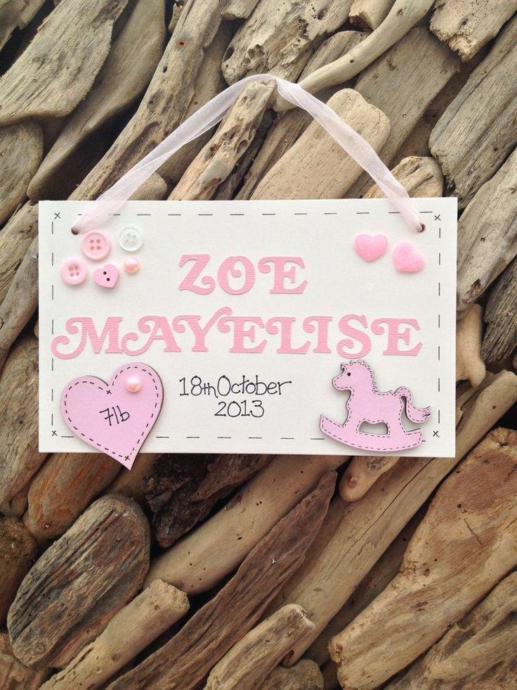 Personalised Baby Girl Plaque Newborn Christening Gift Name Weight Date Handmade