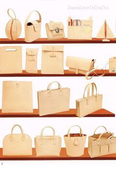 Hand Sewn Leather Bag Pattern Natural Tanned by JapanLovelyCrafts