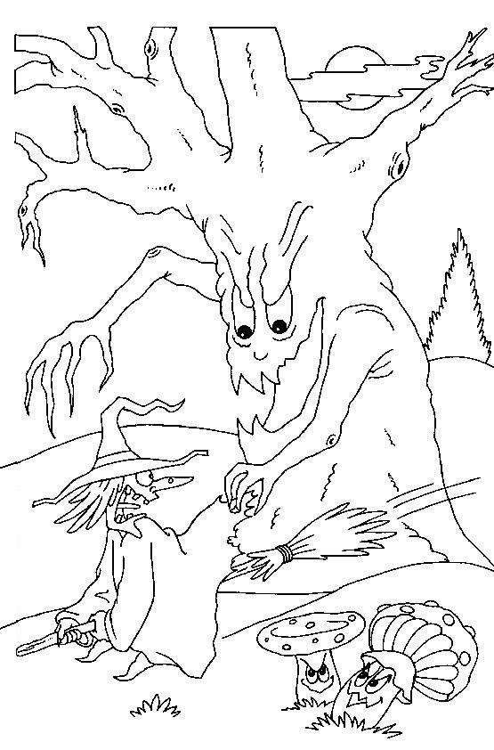 Scary Halloween Coloring Pages | Scary Halloween Tree And Witch Coloring Pages