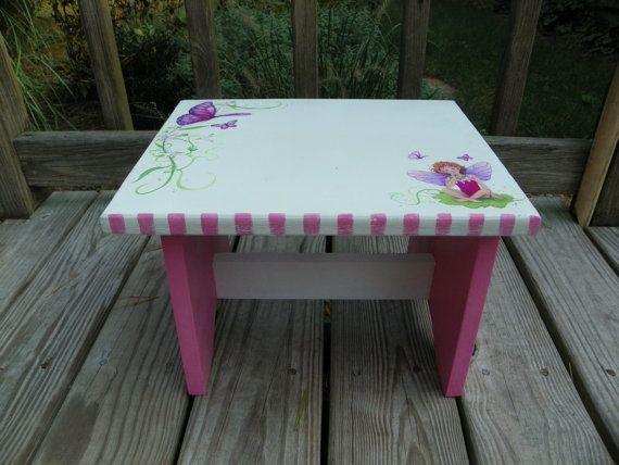 Handpainted, little girls personalized stool Fairies & Butterflies