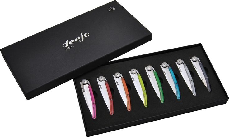Deejo: Display Box of 8 Colors, 27g Knives