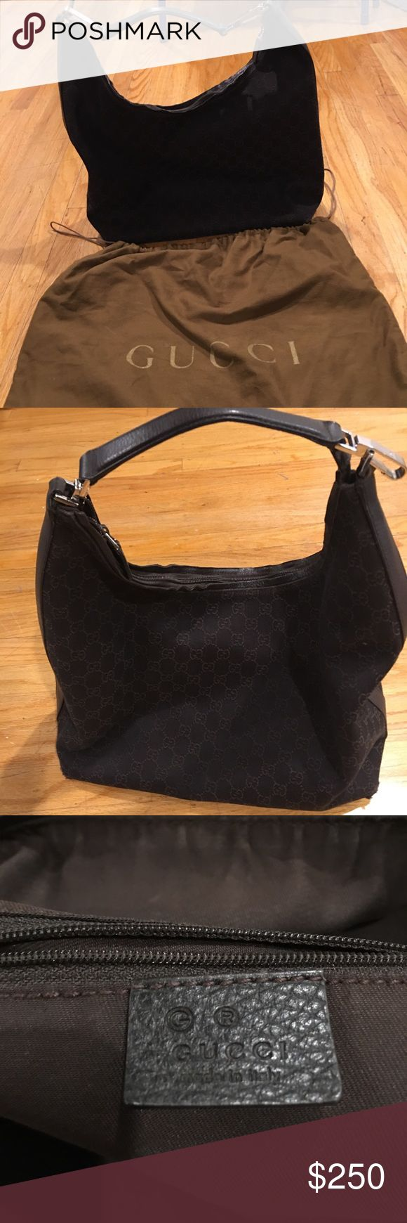 Authentic Gucci logo hobo bag Authentic Gucci logo bag Made with Gucci fabric, leather handle  Normal wear and tear Good condition Bundle to save $$ Gucci Bags Hobos