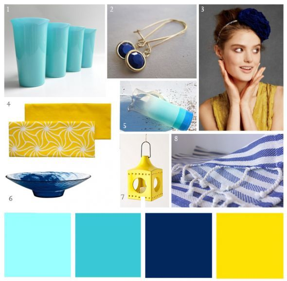 Another bride in need of assistance with color scheme :  wedding ceremony reception Aqua Blue Yellow Party Palette