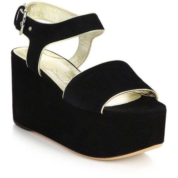 Salvatore Ferragamo Lucrezia Suede Platform Sandals (£480) ❤ liked on  Polyvore featuring shoes