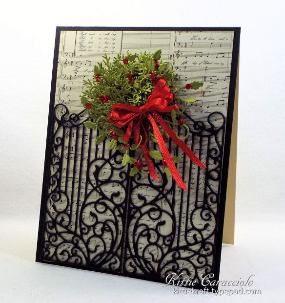 Fun Christmas Card Design: FS512, Wrought Iron Fence and Wreath by kittie747 - Cards and Paper Crafts at Splitcoaststampers