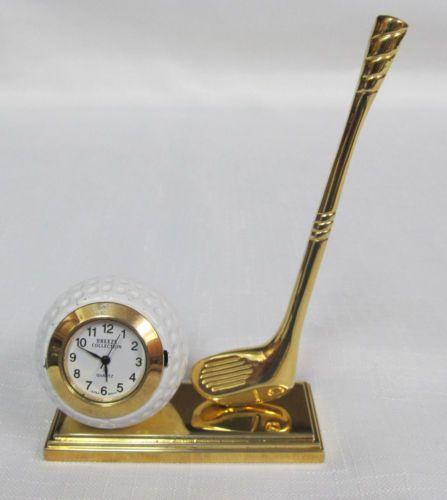 Miniature-Golf-Ball-amp-Club-Novelty-Collectors-Desktop-Clock