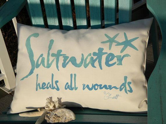 "Outdoor pillow SALTWATER HEALS All Wounds 14""x20"" salt water your choice of color on white background 12""x20"" Crabby Chris Original"