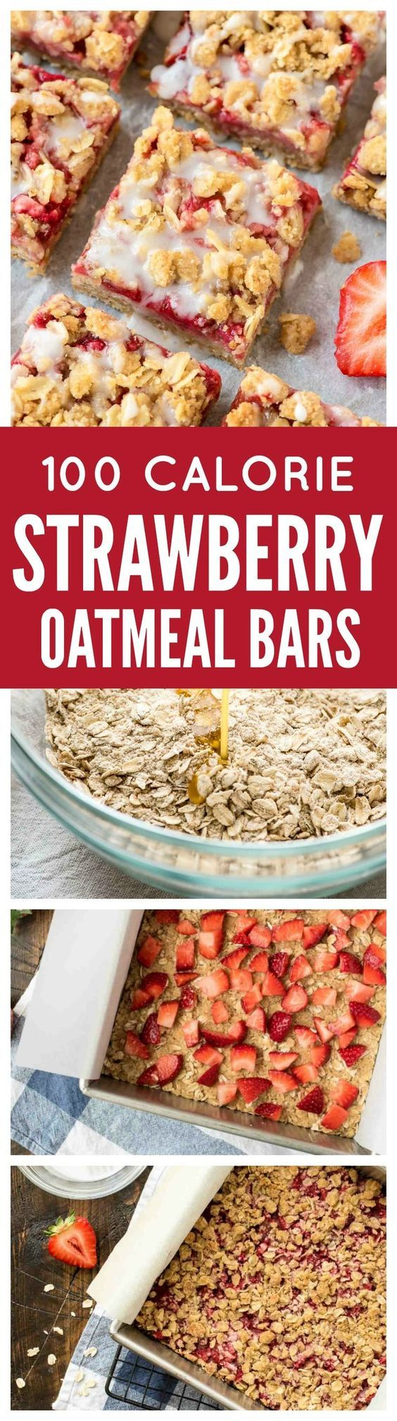 Strawberry Oatmeal Bars: only 100 calories per bar! With a buttery crust, sweet strawberry filling, and delicious crumb topping, they make wonderful dessert bars to take to a party or potluck but are healthy enough for a snack. So easy even kids can make them!