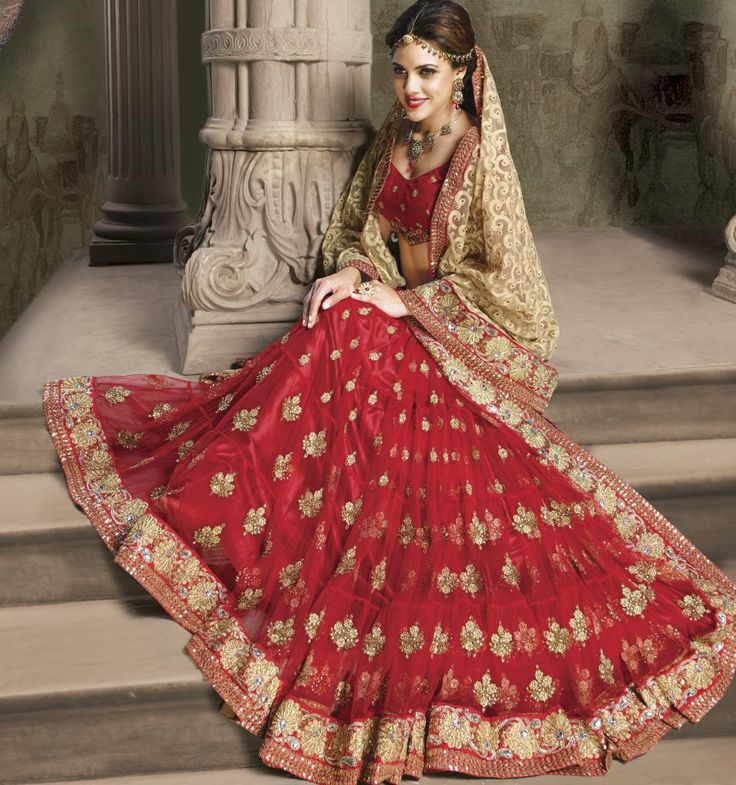 Beige and Red Color Net Designer Sarees : Shehzaadi Collection YF-20613