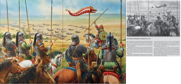 Teodorico a punto de cargar en los campos Catalaúnicos.