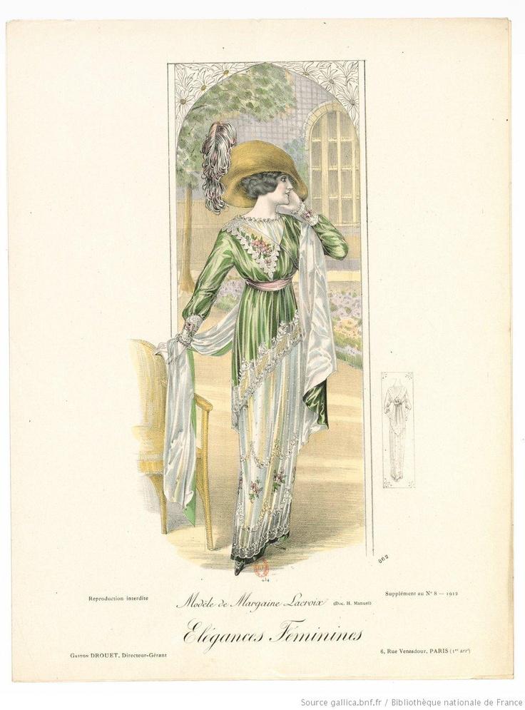 Von den weiblichen Elegances. Monatszeitschrift der Pariser Haute Couture 1912. Kleid von Margaine Lacroix