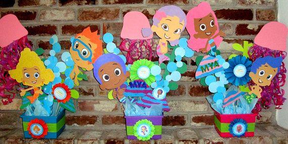 Bubble guppies centerpieces party decorations bubble guppies party pinterest bubble - Bubble guppies center pieces ...