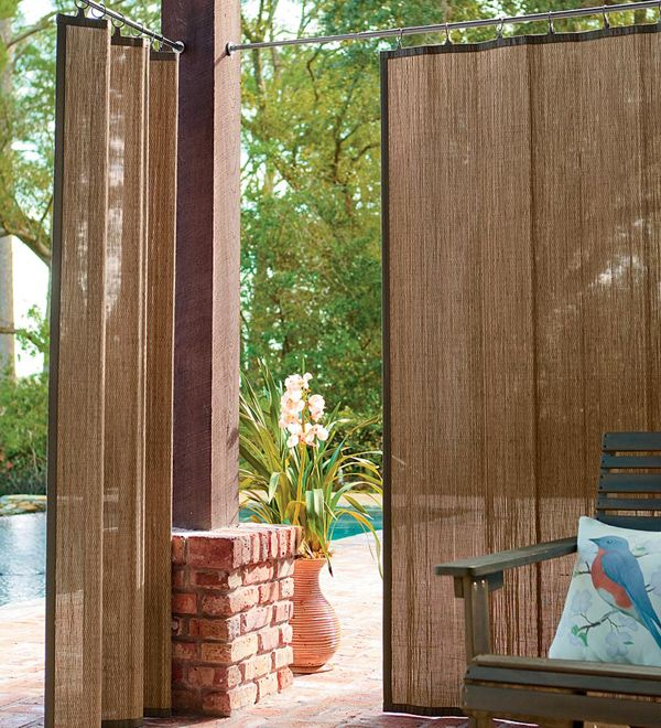 Idea For Hot Tub Privacy   Water Resistant Outdoor Bamboo Curtain Panels In  Dark Brown