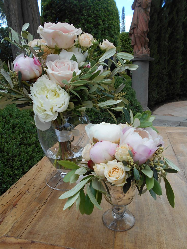 Rustic chic altar arrangements with olive and peonies | Tuscany wedding flowers