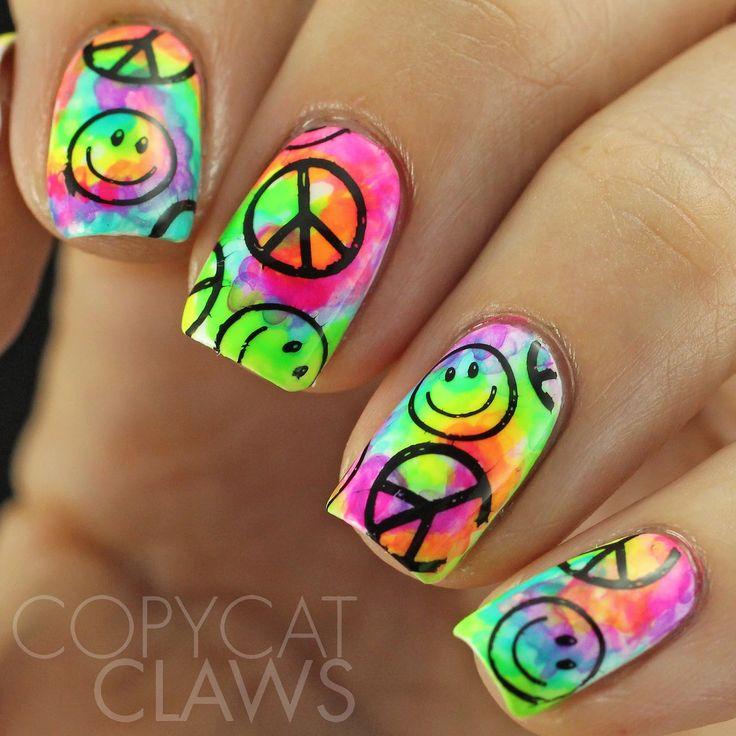 25+ beautiful Tie dye nails ideas on Pinterest   Cool nail designs,  Colorful nail art and Cool nail art - 25+ Beautiful Tie Dye Nails Ideas On Pinterest Cool Nail Designs