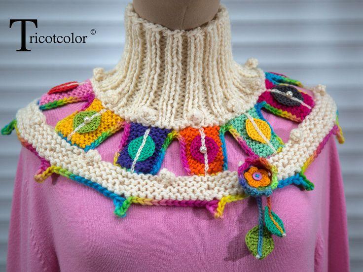 """Col cheminée plastron tricoté à la main en pure laine """" Automne indien """" : Echarpe, foulard, cravate par tricotcolor"""