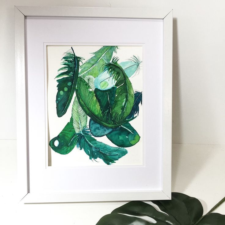 Green and Teal feather composition painted in Watercolour by glamjamstudios. Original one of a kind art. $79 & P&P. Worldwide Shipping. Etsy shop glamjamstudiosau