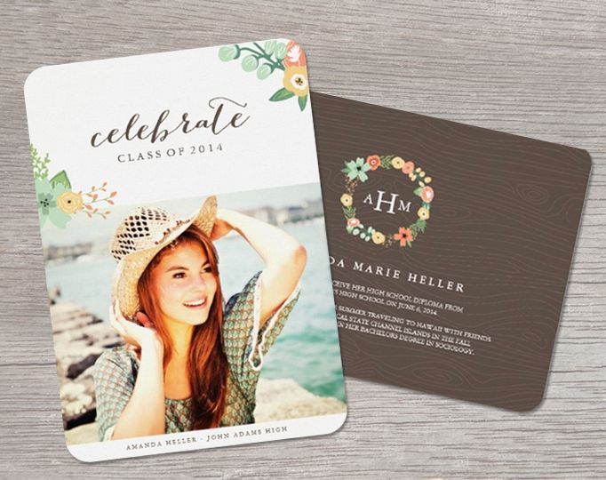 Sweet Floral by Origami Prints High School Grad Photo Announcements