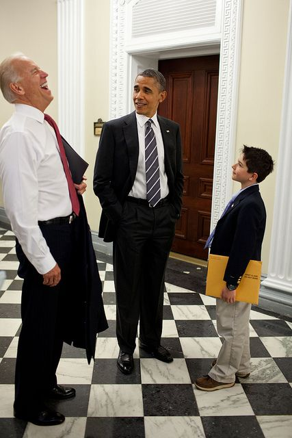 President Barack Obama and Vice President Joe Biden talk with Zachary Atala, son of Dr. Anthony Atala, M.D., Director, Wake Forest Institute for Regenerative Medicine, in the Eisenhower Executive Office Building of the White House, June 5, 2012. (Official White House Photo by Pete Souza)