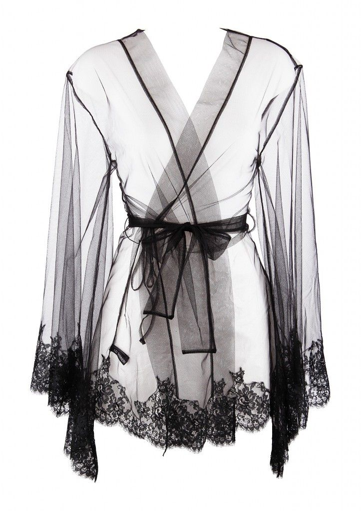 ID Sarrieri Five Drops of Perfurm sheer black lace robe at Dolci Follie dolcifollie.co.uk