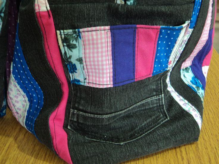 bolso patchwork tela y jeans