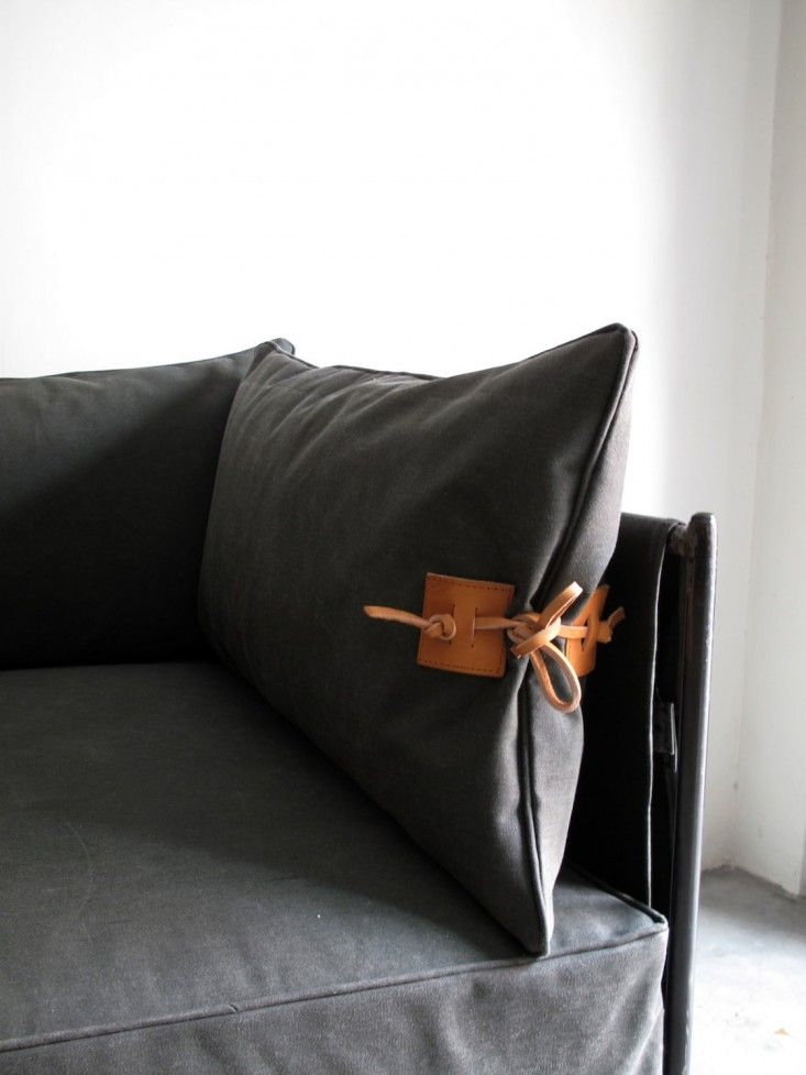 DIY: leather pillow detail