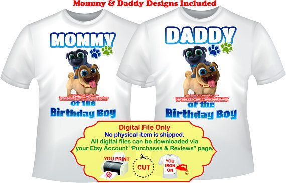 Puppy Dog Pals Iron On Transfer Personalized Diy Mommy Shirt Daddy