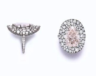 """Ellen Barkin Collection, A COLORED DIAMOND """"BONNET"""" RING, BY JAR   Set with a pear-shaped light brown-pink diamond, weighing approximately 2.94 carats, within a pavé-set diamond oval plaque, to the diamond-set hoop, mounted in platinum and 18k gold, in a JAR pink leather fitted case  By JAR   With report 11919896 dated 13 March 2002 from the Gemological Institute of America stating that the diamond is light brown-pink, natural color, VS2 clarity"""
