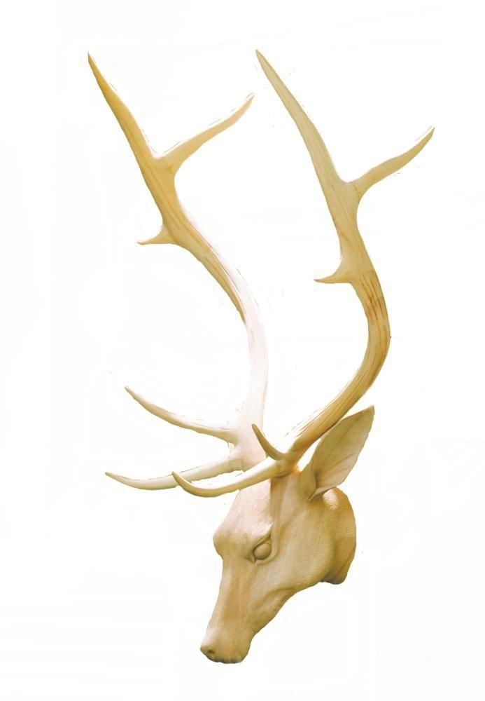 Testa di cervo nobile in legno tiglio - Dolfi