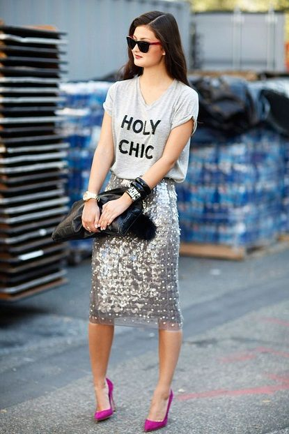 Party season ready: sequin skirt and a grey tee