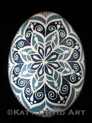©Katy David Chicken Egg Pysanky. For mor info, go to http://katydavidart.blogspot.com/2014/01/friday-egg-blue-filigree.html