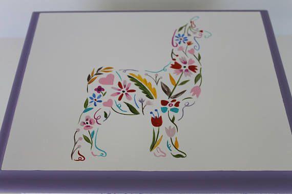 Baby Keepsake Box Baby Memory Box Floral Llama hand painted