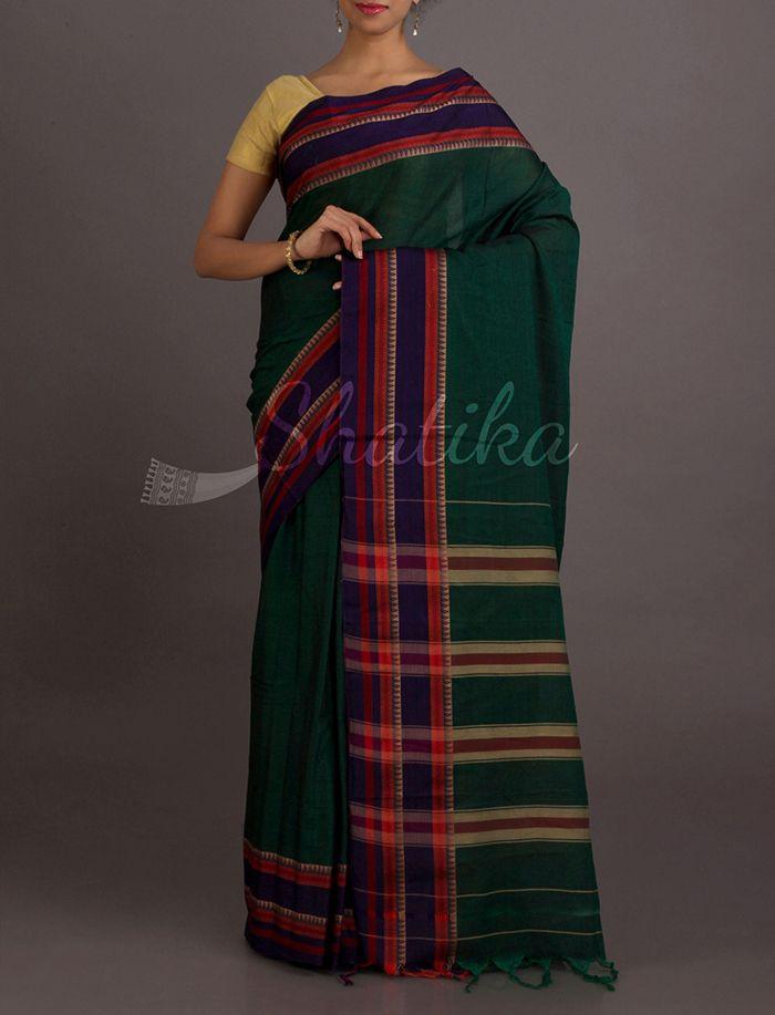 Sonia Bottle Green Stripe Splendor #NarayanpetPureCottonSaree