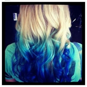 blond and blue curls [This makes me want blue hair again. LOL. #RTNF]