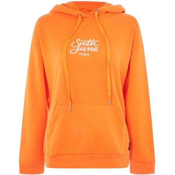 Logo Embroidered Hoodie by Sixth June (£36) ❤ liked on Polyvore featuring tops, hoodies, orange, hooded pullover, orange top, hoodie top, orange hoodie and orange hoodies
