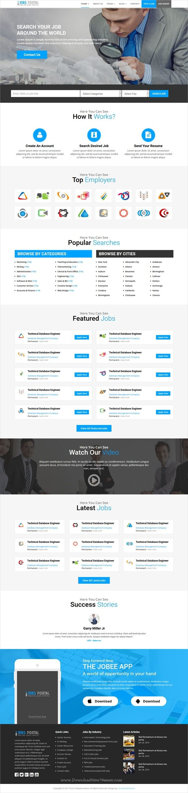 Jobs portal is a wonderful 3in1 responsive #HTML5 bootstrap template for online #jobs #search engine websites download now➩ https://themeforest.net/item/jobs-portal-online-jobs-search-template/19327698?ref=Datasata