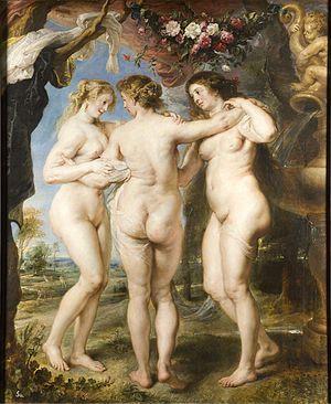 """""""Las tres gracias"""" de Rubens,1635. Esta obra de Rubens, pintor flamenco, pertenece al Barroco, esta obra se caracteriza por las formas ondulantes, la curva... por las formas gruesas. En esta obra Rubens representa la belleza del momento ya que las formas redondas y voluptuosas eran símbolo de belleza."""