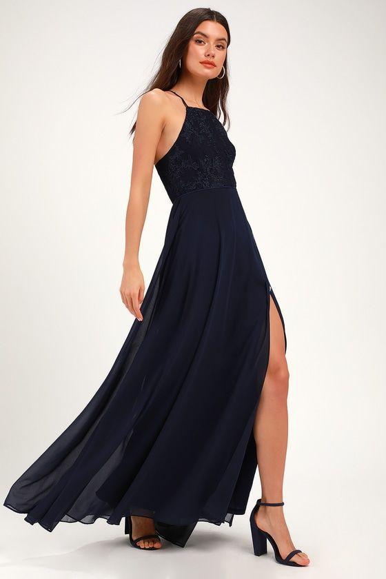 dd4d12d07886 Lulus   Love Always Remains Navy Blue Lace Maxi Dress   Size Large ...