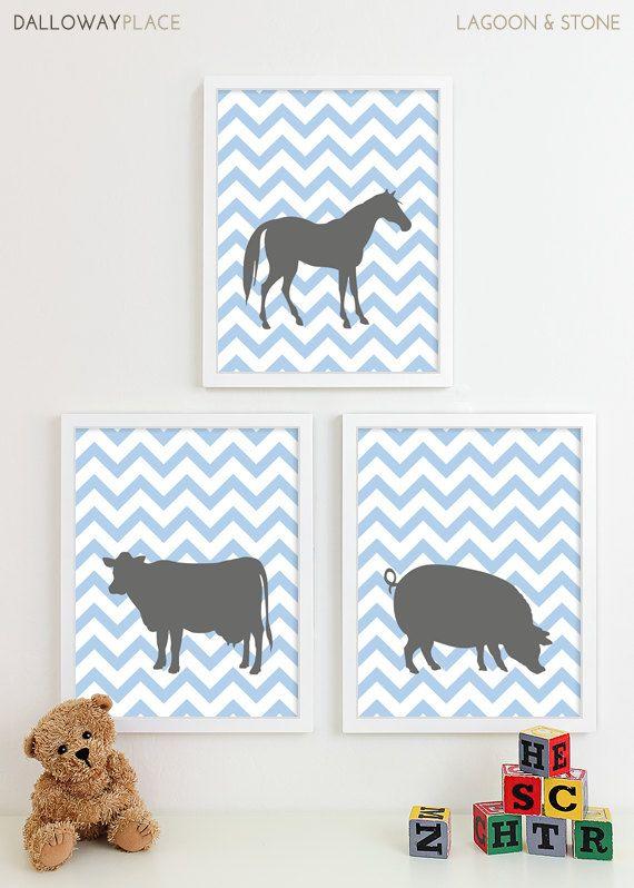 Chevron Baby Nursery Art, Farm Animal Nursery Art Prints, Horse Pig Cow Kids Wall Art Kids Room Farm Baby Nursery Decor - Three 11x14