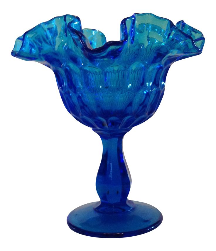 Fenton Colonial Blue Thumbprint Compote on Chairish.com