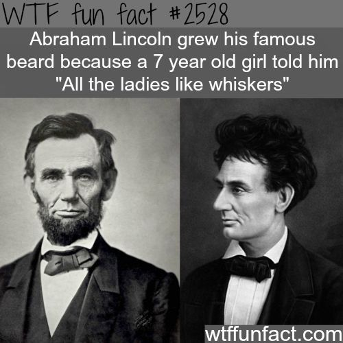 Abraham Lincoln without a beard - WTF fun facts @Anna Adames