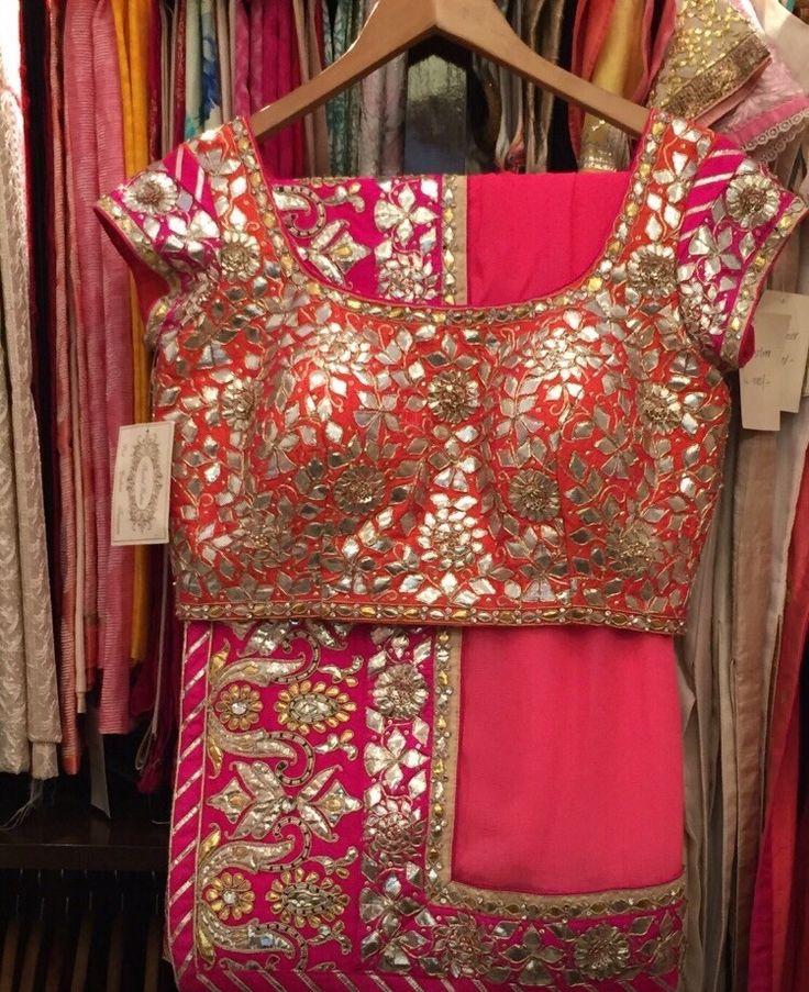 Pink Ombre Gota Patti Sari