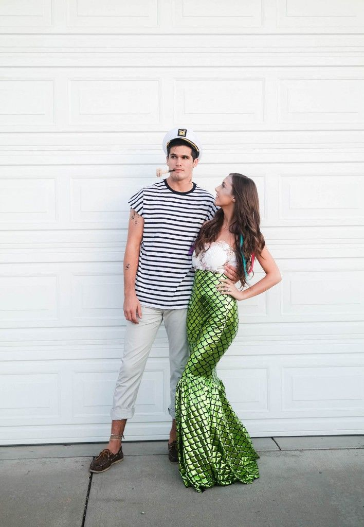 Halloween Costume - Couples Costume - Mermaid Costume - Mermaid Makeup - Hair Extensions - Long Brunette Hair  - Mermaid Hair - Mermaid Skirt - Luxy Hair - Sailor Costume - Maggie Gritton