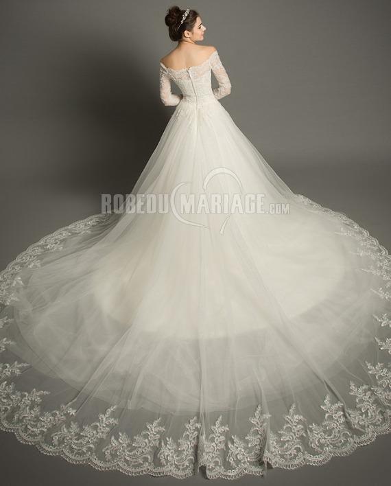 Traîne cathédrale manches mi-longue robe de mariée épaule dégagée tulle [#ROBE209746] - robedumariage.com