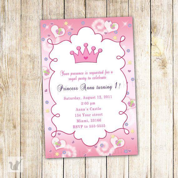 Princess Birthday Invitation Card  Butterfly Custom Girl 1st