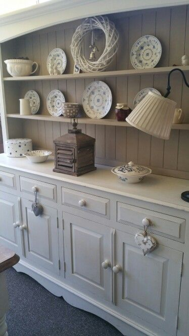 Solid Oak Welsh Dresser painted in Annie Sloan Old White and Country Grey.