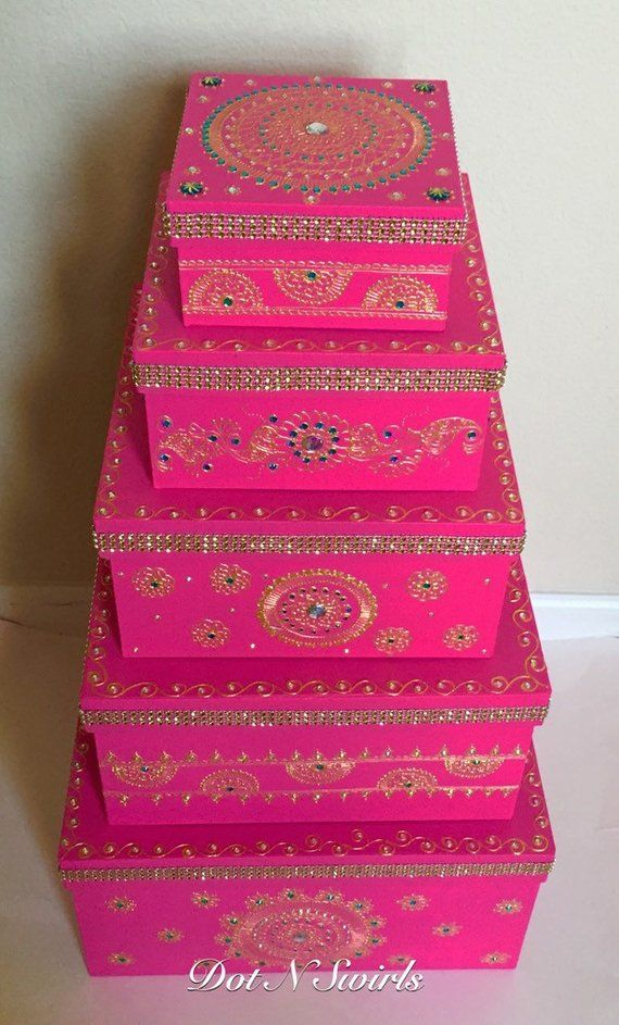 Set Of 5 Henna Decorated Card Board Boxes Wedding Gift Box Set Gift